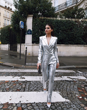 jumpsuit,silver,buttons,camila coelho,metallic,high waisted