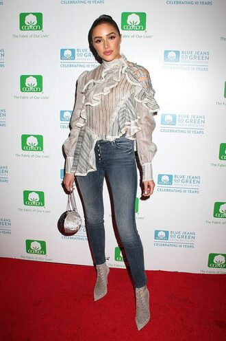 blouse ruffle jeans skinny jeans ankle boots olivia culpo