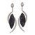 14kt White Earrings with Rough Black Tourmaline and Half Moon Diamond Shapes