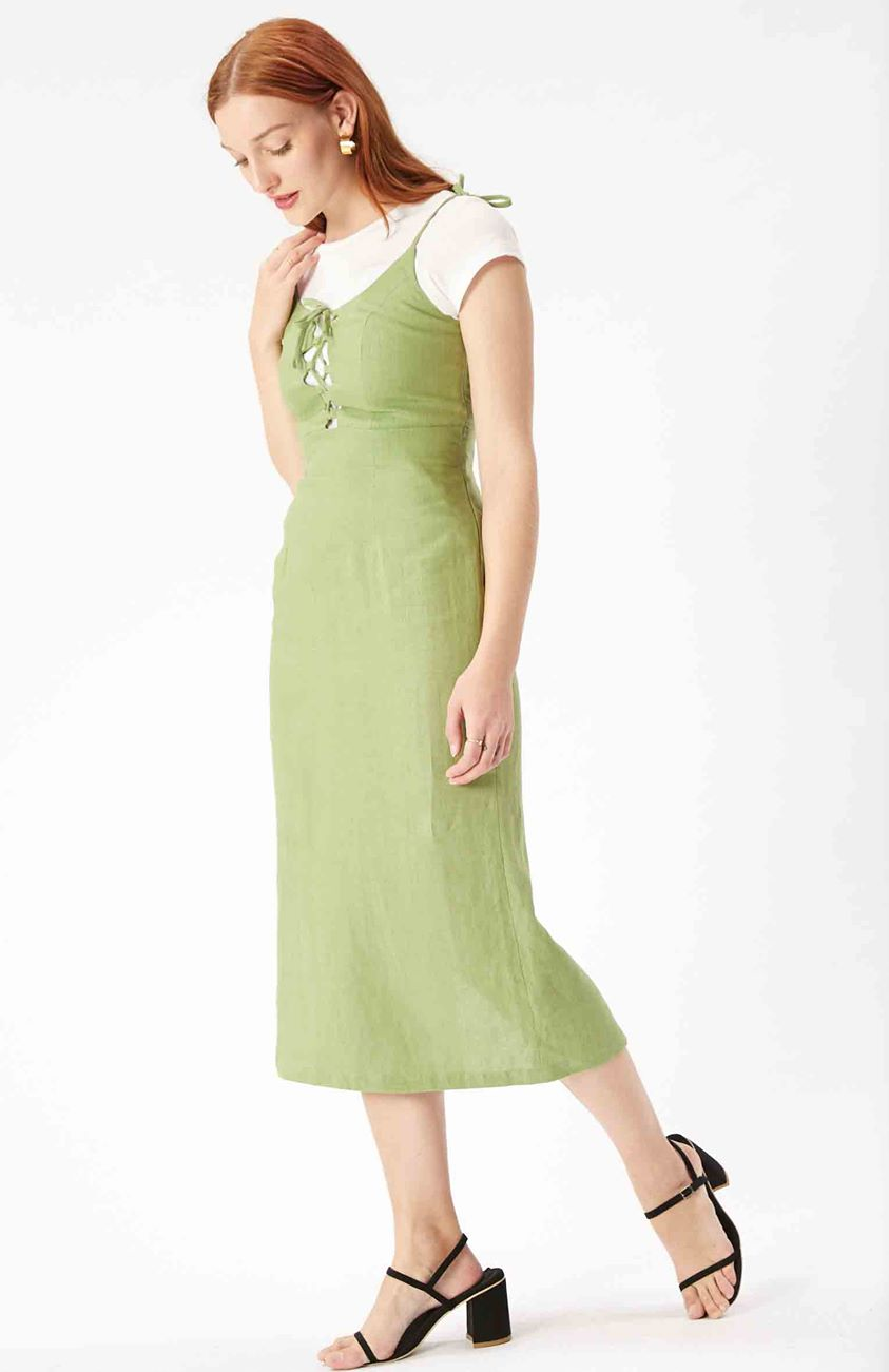 Sophia Lace Up Dress - Pistachio