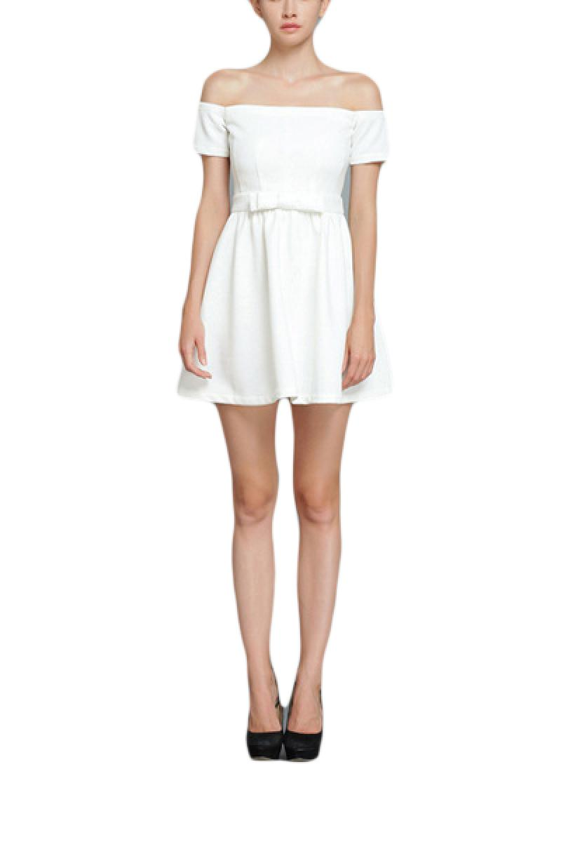 Boat Neck Short Sleeve Skinny Bowknot Dress,Cheap in Wendybox.com