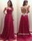 Line sweetheart red chiffon long prom dresses, evening dresses