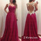 Custom made a-line sweetheart red chiffon long prom dresses, evening dresses - 24prom