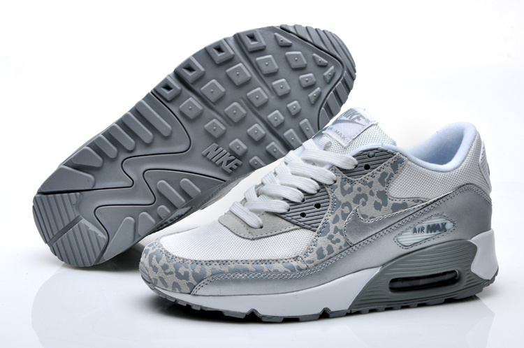 Nike air max 90 womens leopard print white silver for sale
