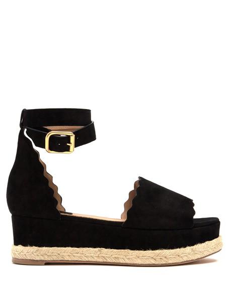 Chloe espadrilles suede black shoes