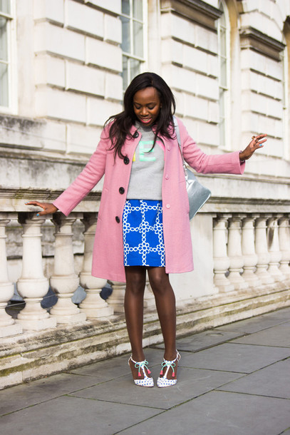 i want you to know blogger blue skirt grey sweater pink coat coat sweater dress shoes
