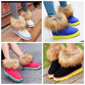 shoes fur boots boots with fur winter boots colorful yellow