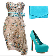 dress,heels,blue,sexy,beautiful,shoes,bag,wedding,fashion,blue and gold dress