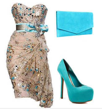 dress heels blue sexy beautiful shoes bag wedding fashion blue and gold dress