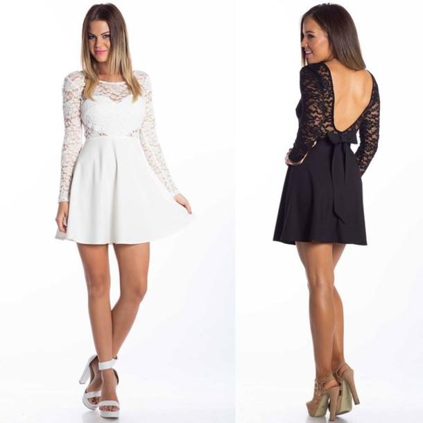 25c11d15e2b6 dress lace dress lace back dress low scoop back dress heart shape long  sleeves mini dress