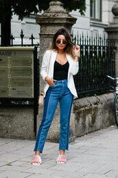 jacket,tumblr,blazer,white blazer,top,black top,denim,jeans,blue jeans,patchwork,shoes,furry shoes,slide shoes
