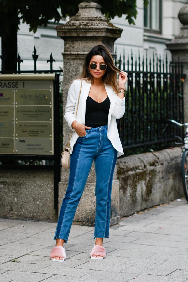jacket tumblr blazer white blazer top black top denim jeans blue jeans patchwork shoes furry shoes slide shoes