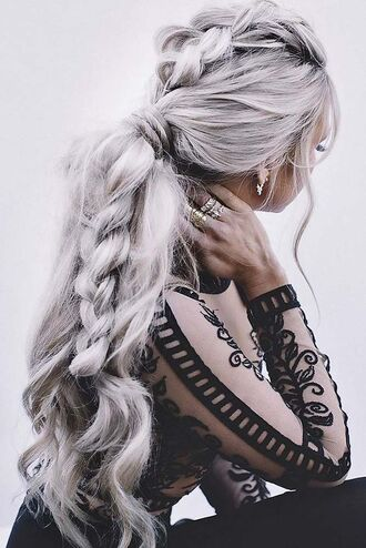 hair accessory silver hair braid long hair ponytail top black top black lace top lace top