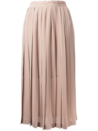 skirt midi skirt pleated women midi brown