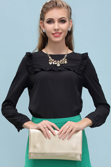 Pure Color Flouncing Chiffon Blouse in Black [FDBI00561] - PersunMall.com