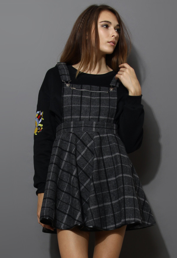 dress laid check wool-blend pinafore