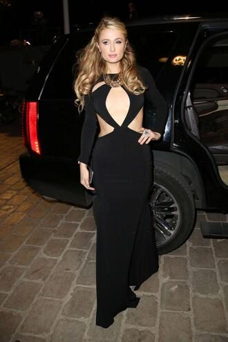 dress gown cut-out black dress prom dress paris hilton cannes