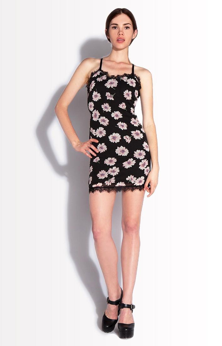Lace lingerie floral spaghetti dress