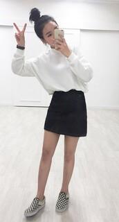 sweater,high neck,white,white sweater,cute outfits,cute sweaters,korean fashion,korean style,black skirt,skirt,black denim skirt,vans