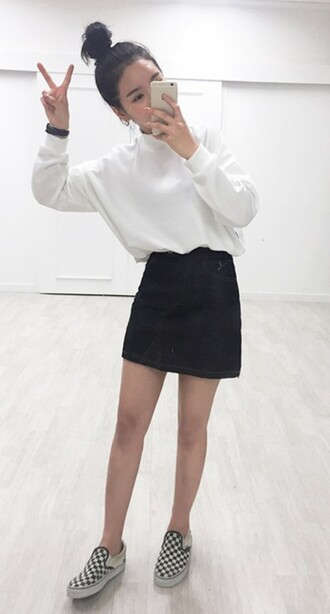 sweater high neck white white sweater cute outfits cute sweaters korean fashion korean style black skirt skirt black denim skirt vans