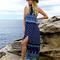 Blue tribe pattern racer back boho maxi split dress