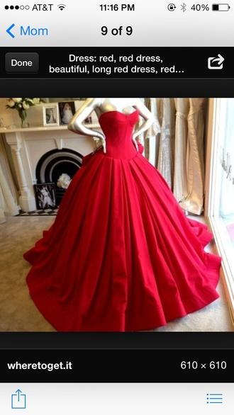 dress red dress long red dress strapless puffy cupcake dress