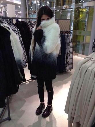 jacket clothes coat white black ombre fluffy winter coat jeans