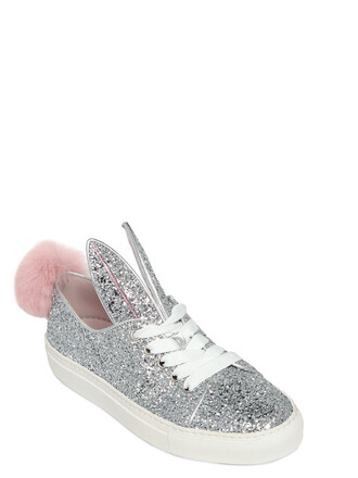 glitter bunny sneakers silver shoes