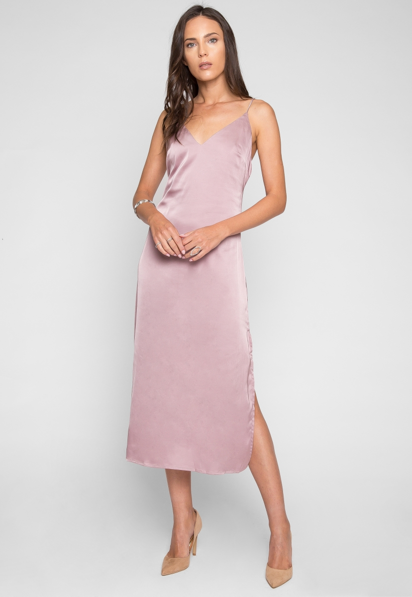 975a59a00c5 Satin slip dress in pink - Look Stunning