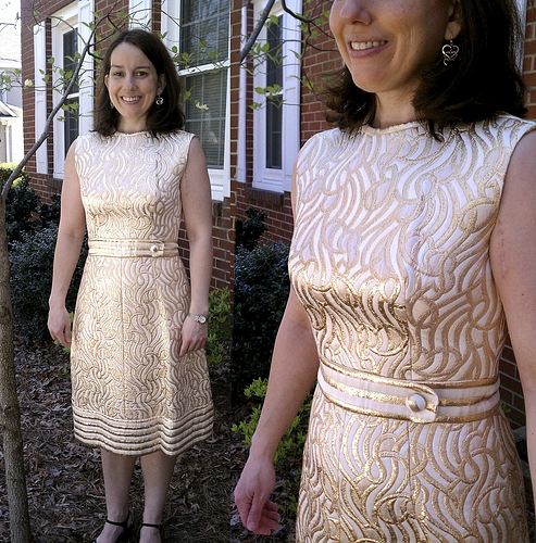Vintage 60s gold lurex metallic brocade dress made in crown colony of hong kong by vintagerunway on sense of fashion
