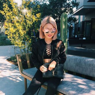 t-shirt sports bra crop tops lace up sporty comfort sweat black fashion style athletic athleisure nastygal all black everything