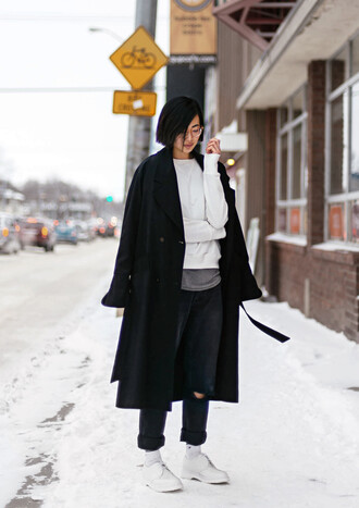 ordinary people blogger sweater black coat ripped jeans white shoes black ripped jeans