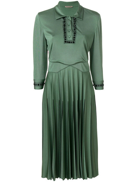 Bottega Veneta dress embellished dress pleated women spandex embellished silk green