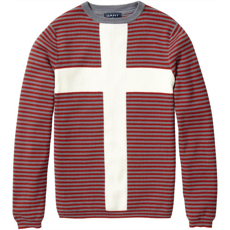 Gant by michael bastian men's cross flag crew neck jumper ruby red