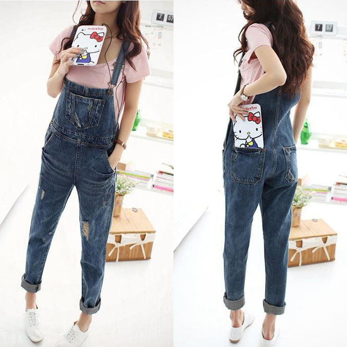 2014 New Fashion Women Embroidery denim straight Jeans Jumpsuit Rompers ladies vintage Denim jean Overalls pant-in Jumpsuits & Rompers from Apparel & Accessories on Aliexpress.com