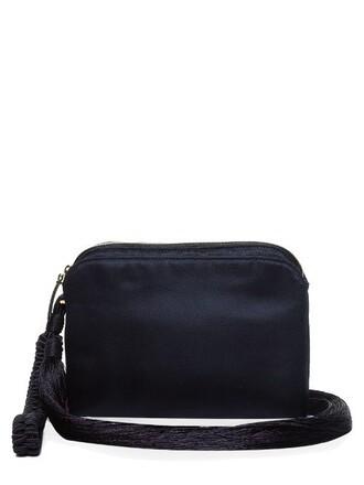 tassel clutch satin navy bag