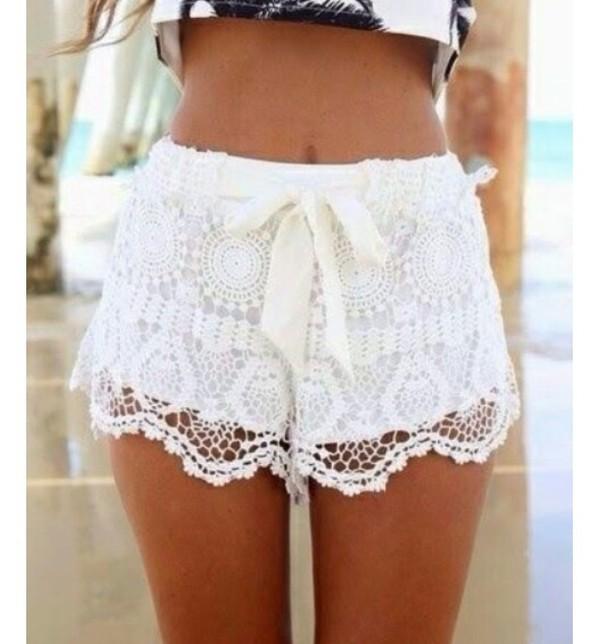 white shorts shorts lace shorts lace white