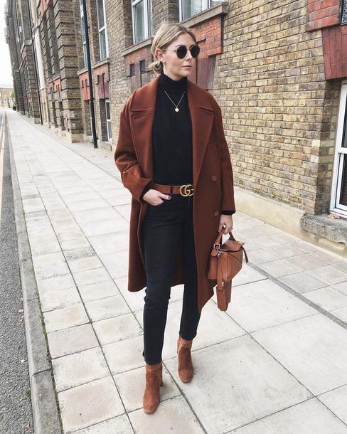 coat tumblr brown coat denim jeans black jeans belt top black top turtleneck turtleneck sweater round sunglasses sunglasses