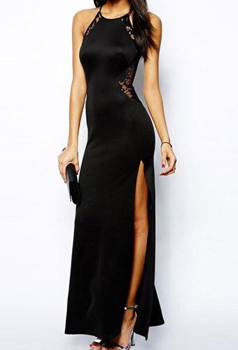Sexy Women's Scoop Neck Lace Embellished Sleeveless Side Slit Dress