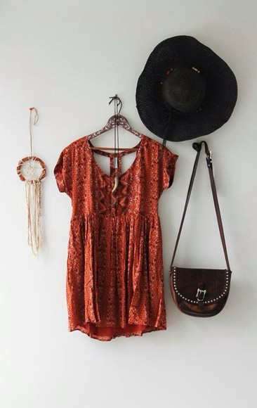 printed dress red dress orange dress
