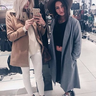 coat winter outfits nude sweater style fashion hat black grey apple iphone friends grunge