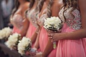 dress,bridesmaid,bridemaid dress,pink,silver,flowers,glitter,silver lace,lace,curled hair