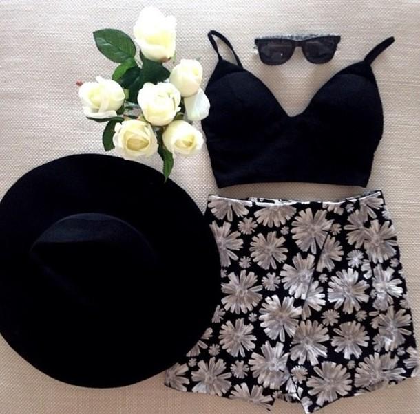 skirt crop tops tank top skorts black crop top floral skirt