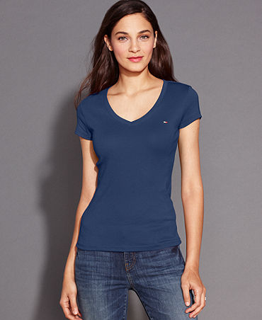Tommy Hilfiger Short-Sleeve V-Neck Tee - Tops - Women - Macy's
