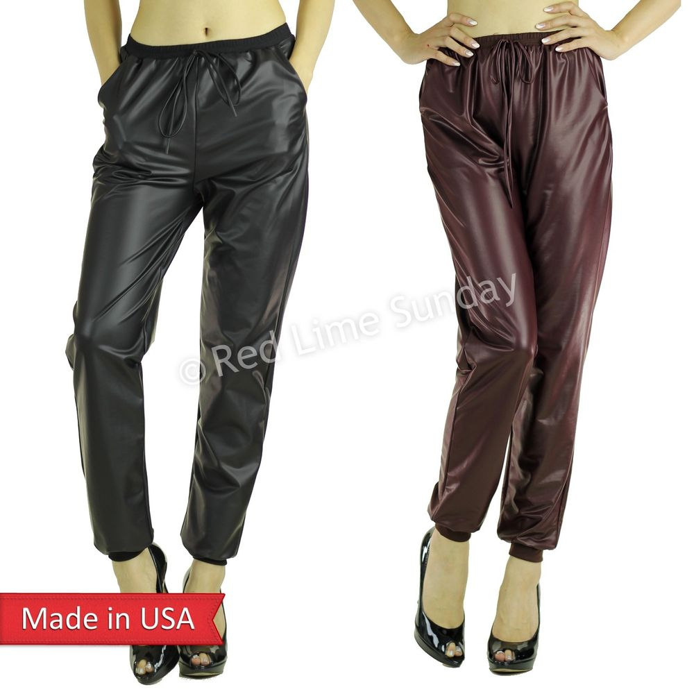 Black Burgundy Faux Leather Drawstring Jogger Jogging Pants Pocket Regular Plus