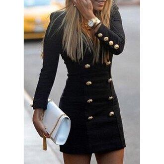 dress cute sexy military style black dress short dress