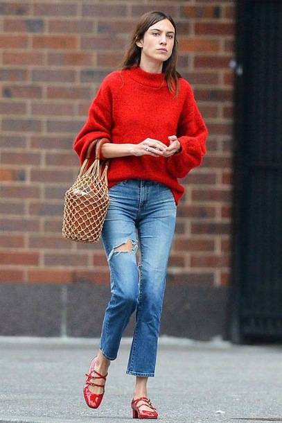sweater, jeans, denim, red sweater, alexa chung ...
