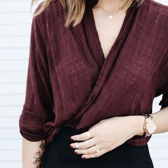 blouse burgundy wrap back to school fall colors linen office outfits v neck burgundy top top wrap top watch gold watch necklace gold necklace