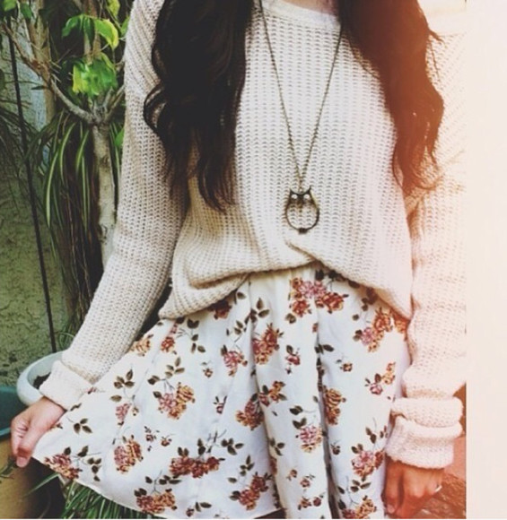white skirt red floral skirt floral sweater shirt soft comfy outfits tumblr sweater pintrest so helpmefind fall outfits winter outfits