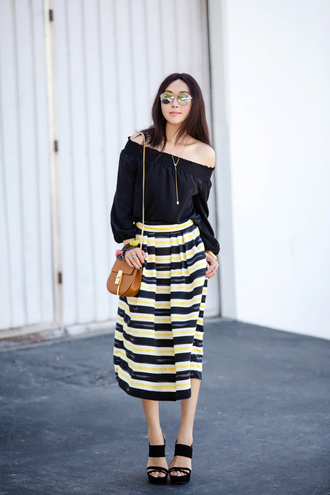 fit fab fun mom blogger shoes bag sunglasses jewels off the shoulder black top maxi skirt striped skirt brown bag wedges black heels